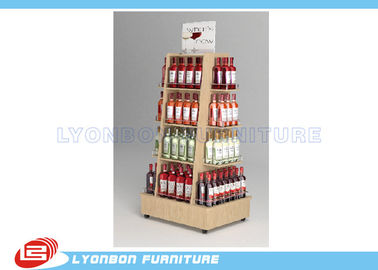 Four sides movable wine display Maple HPL laminated MDF in good quality