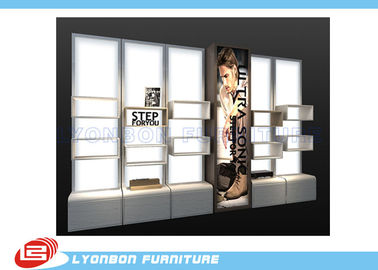 MDF Cubicle Slatwall Gondola Display Stands For Shoes Presenting / Melamine Finished