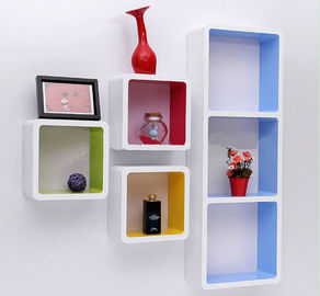 Paint Finished Wooden Retail Display Cabinets Wall Hanging Cubes Countertop